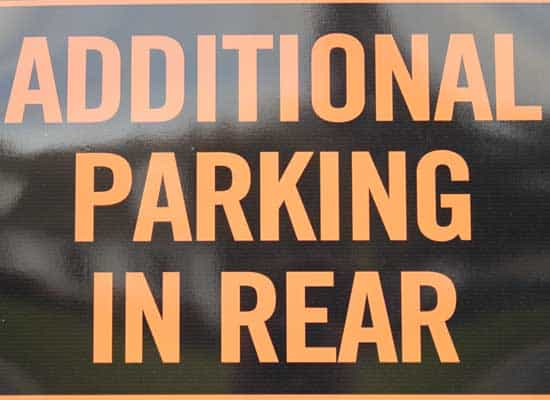 parking in rear sign